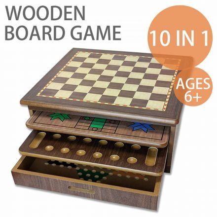 10 in 1 Wooden Board Game Table features