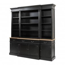 Hamptons Style Black Buffet and Hutch Sideboard Bookcase Cabinet with Drawers