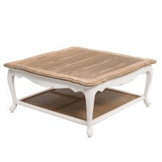 French Provincial Furniture Square Coffee & Tea Table in White Distress with Natural Oak