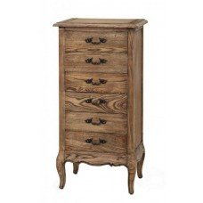 French Provincial 6 Drawers Tallboy Cabinet Natural Oak
