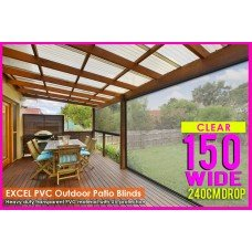 150CM X 240CM Heavy Duty PVC Clear Patio Cafe Blinds Outdoor UV Protect Awning