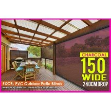 150CM X 240CM Heavy Duty PVC Tinted Patio Cafe Blinds Outdoor UV Protect Awning