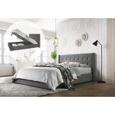King Sized Winged Fabric Bed Frame With Gas Lift Storage In Light Grey