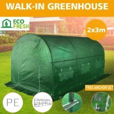 Greenhouse EcoFresh Walk in Greenhouses 3m x 2m x 2m Strong Galvanised Frame