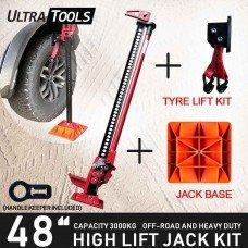 "COMBO - High Lift 48"" Inch Farm Jack Kit Tyre Lift Kit + Jack Base + Handle Keeper"