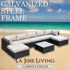 Cairns 7 Seater Outdoor Sofa Modular 8 Piece Set Rattan Furniture Lounge Black
