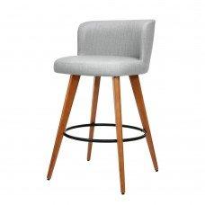 Artiss 2x Wooden Bar Stools Modern Bar Stool Kitchen Fabric Light Grey