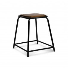 Set Of 4 Stackable Wooden Seat Stools ?48.5cm