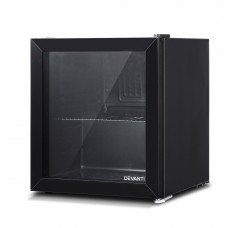 Devanti 46l Glass Door Bar Fridge Mini Countertop Freezer Fridges Bottle Cooler