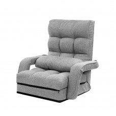 Artiss Lounge Sofa Armchair Floor Recliner Chaise Linen Light Grey