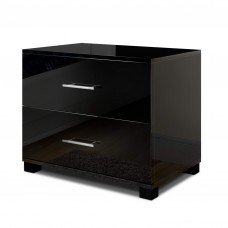 Glossy Bedside Table - Black