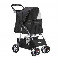 Pet 4 Wheel Pet Stroller - Black