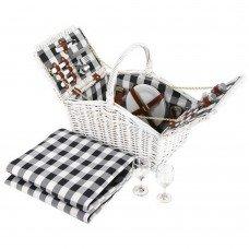 Alfresco 2 Person Picnic Basket Baskets White Deluxe Outdoor Corporate Blanket Park