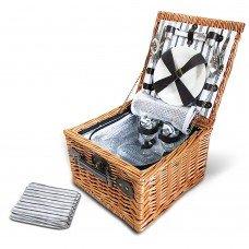 2 Person Picnic Basket Set W/ Cooler Bag Blanket