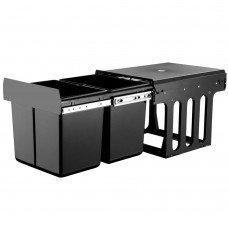 Set Of 2 15l Twin Pull Out Bins Kitchen Slide Out Rubbish Waste Basket Black