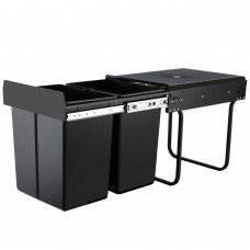 Set Of 2 20l Twin Pull Out Bins Kitchen Slide Out Rubbish Waste Basket Black