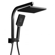 Wels 8 Inch Rain Shower Head Square Wall Arm Handheld Spray Bracket Rail Mat Black