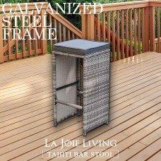 Set of 2 La Joie Living Tahiti Outdoor Bar Stool Chair Furniture Rattan Wicker Steel Frame