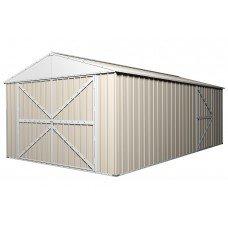 Double Barn Door Garage Shed 3.5m x 6m x 2.3m Cream 45