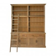 French Provincial Hamptons Natural Oak Open Double Buffet and Hutch Bookcase with Ladder