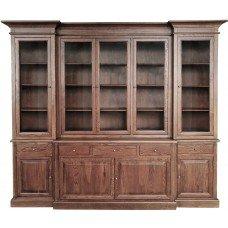 Hamptons Buffet Sideboard Glass Doors Hutch Bookcase Natural Oak Dark Brown