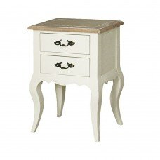 French Provincial Classic White bedside Lamp Table with 2 Drawers
