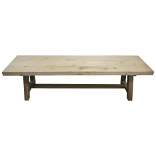 LeMans Rustic Trestle New Pine Dining Bench