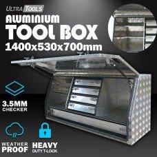 Aluminium Ute ToolBox2.5mm 1450x530x700mm 5 Drawers Side Opening Vehicle Storage