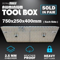 Aluminium Ute ToolBox1.5mm 750x250x400mm Undertray Underbody Vehicle Storage
