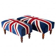Contemporary UK British Flag Union Jack Upholstered Footstools & Ottoman (Large)