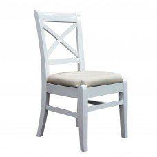 Set of 2 International Concept Cross Back Dining Chair Rubber Wood Fabric Foam Seat