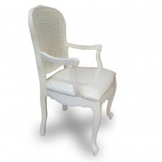 French Provincial Furniture White Rattan Dining Arm Chair