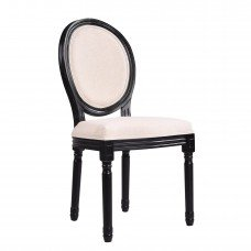 Louis Dining Chair Set of 2 French Provincial Upholstered White Black Washed Oak