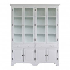 French Provincial Glass Display Cabinet with Tempered Glass Off White