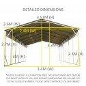 Carport 3.6 x 10.6m x 3.51m dimensions2