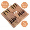 10 in 1 Wooden Board Game Backgammon Pass Out Tic Tac Toe
