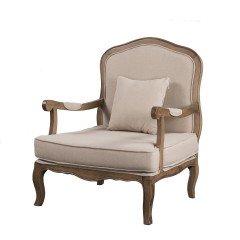 French Provincial Vintage Furniture Single Sofa with Arm in Natural Oak