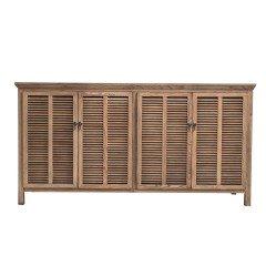 Hamptons Louvre 4 Door Sideboard Buffet Cabinet in Natural Ash