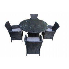 Honolulu 5 Piece 4 Seater Outdoor Round Dining Set Furniture Rattan Steel Frame
