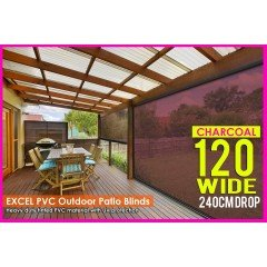 120CM X 240CM Heavy Duty PVC Tinted Patio Cafe Blinds Outdoor UV Protect Awning