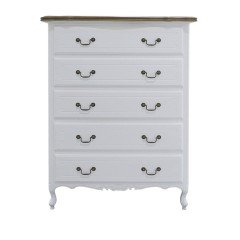French Provincial Furniture 5 Chest of Drawers Tallboy Cabinet in White with Oak Top