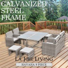 Havana 9 Piece 8 Seater Outdoor Dining Set Furniture Rattan Steel Frame Light Ash Brown