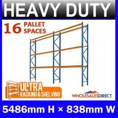 Pallet Racking 2 Bay System 5486mm High 16 Pallet Spaces