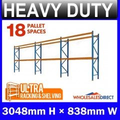 Pallet Racking 3 Bay System 3048mm High 18 Pallet Spaces