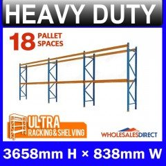 Pallet Racking 3 Bay System 3658mm High 18 Pallet Spaces