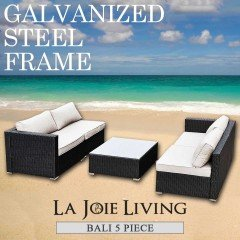 Bali 4 Seater Outdoor Sofa Modular 5 Piece Set Rattan Furniture Lounge Black