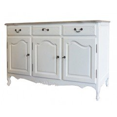 French Provincial Vintage Furniture Classic Buffet in Louise White with Oak Top