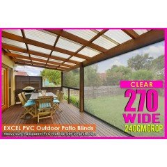 270CM X 240CM Heavy Duty PVC Clear Patio Cafe Blinds Outdoor UV Protect Awning
