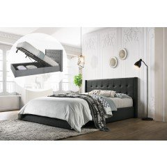 King Sized Winged Fabric Bed Frame With Gas Lift Storage In Charcoal