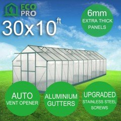 EcoPro 6mm Greenhouse 30 x 10ft 2.70m Height
